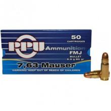 Cartucce per pistola cal. 7,63 Mauser FMJ 85gr (PPU)